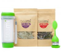 30 Day Detox Tea Kit for Teatox & Weight Loss to get that Skinny Tummy by Teami Blends | Our Best Colon Cleanse Blend to Raise Energy, Boost Metabolism, Reduce Bloating! (Green Tumbler & Infuser)