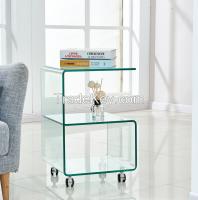 Elegent Design Modern Clear Glass Roatating Side Tables