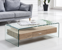 Modern Design Tempered Glass Top and MDF Drawer Coffee tables