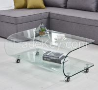 Living Roon Furniture U Shaped Center Curved Glass Table with Wheels