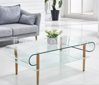 Elegent Designed Hot Bending Glass Top with Wooden Legs Coffee Tables
