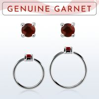 Wholesale Nose hoop  - Body Jewellery (Garnet)