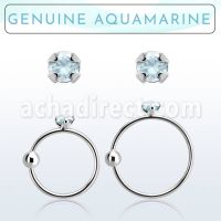 Wholesale Nose hoop  - Body Jewellery (Aquamarine)