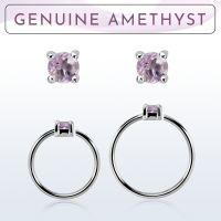 Wholesale Nose hoop  - Body Jewellery (Amethyst)
