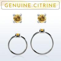 Wholesale Nose hoop  - Body Jewellery (Citrine)