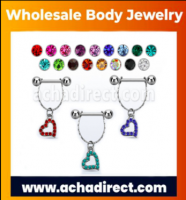 Wholesale Nipple Barbell in Surgical Steel  | Acha