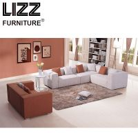 Modern Living Room Fabric Sofa Bed with Wooden Frame
