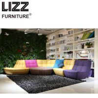 Contemporary Colorful Genuine Leather Living Room Sofa Bed