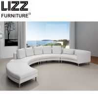 Living Room Furniture Half Round Circle Italian Leather Sofa