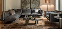 Living Room Modern Leather & Fabric Sectional Sofa