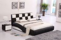 Contemporary Platform Genuine Leather Bed