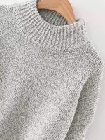 Crew Neck Solid Long Drop Sleeves Loose Knit Pullover Sweaters