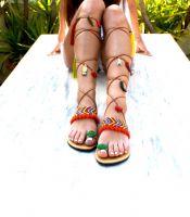 Women Hippie Gladiator Pompom Boho Sandals for Ladies