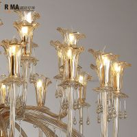 Rima Lighting Modern Delux Chandeliers with Glass Lampshade for Home and Hotel Decoration 10933
