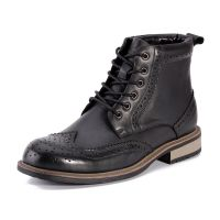 anti-slip outsole lace up men genuine leather boots ankle dress boots for men