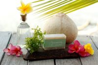 noesa Seaweed soap (tropical handmade soap coconut oil based and Frangipani Aroma)