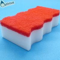 Wave shaped melamine sponge composite with colorful scouring pad