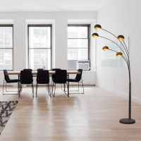 arc floor lamps with 5lights gold lamp shades