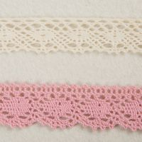 New Design 100% Cotton 2cm Pink and White Lace Trim for Lady Dress