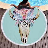 Round Beach Towel with Tassels Circle Microfiber Beach Mat