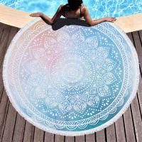 Round Beach Towel with Tassels  Microfiber Beach Towel