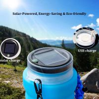 5 in 1 Multifunction Solar and USB Rechargeable Camping Light Lantern Waterproof Bottle with Compass Emergency Cord and Flintstone