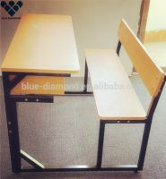 Professional cheap attached double school desk and chair factory