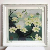 Framed Completed finished cross stitch of flowers  butterfly
