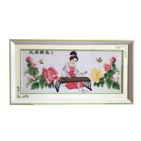 China wind framed finished cross stitch of the ancient girl