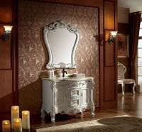 40 Inch Single Bathroom Vanity In White Finish With Marble Counter-top And Mirror No.1603