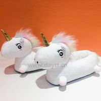 3D Macaroon hair color unicorn slippers rainbow short plush non-slip slippers for girls and women