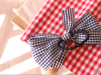 Korean Handmade gingham bow hair rope elastic ties ponytail holders accessories ko2 gift