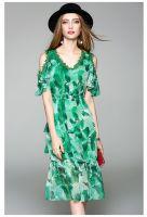 moozoi green v neck real silk short sleeve dress