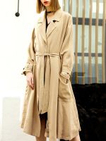 moozoi Solid long style trench coat