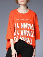 moozoi asymmetrical plus size printed T-shirt