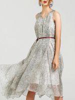 moozoi printed real silk sleeveless dress