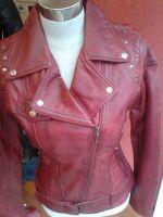 female leather jacket flipped collar