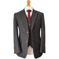 Jennis & Warmann Charcoal Herringbone Striped Tweed Suit
