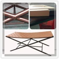 Comfortable modern style leather weaving metal luggage bench in powdercoat for project hotel room furniture