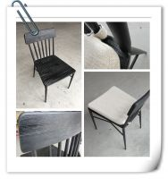 dining furniture metal frame wood dining chair with uphostery fabric seater