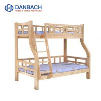 Customized Detachable Wooden Kids Bunk Cot Clear Transparent Varnish Children Bunk Bed