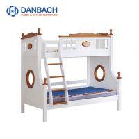 White Walnut Color Pine Wood Kids Double Decker Bed Storage Drawers Children's Furniture