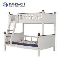 White Walnut Color Kids Wooden Double Decker Bed Children's Bunk Bed