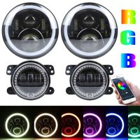 7inch RGB 90W led headlight 4inch 30w fog lamp for Jeep APP music controlled