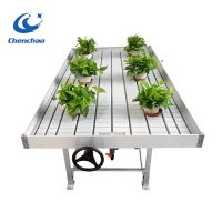Greenhouse ebb and flow growing rolling metal bench
