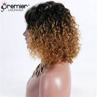 free shipping 4.5 inches deep part Golden Ombre Natural Curls Bob Lace Front Wig