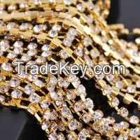 Yali Crystal Hotsale Golden Color Crystal Rhinestone Chain for Evening Purses