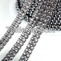 Rhinestone Cup Chain Trim Crystal Fancy Stone Chain Trimming For Dresses