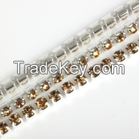 YALI Wholesale Crystal Diamond Rhinestone Cup Chain Trimming Strass Chain Cup Chain