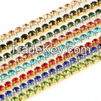 YALI Colors Crystal Beads Brass Cup Chain Trimmings